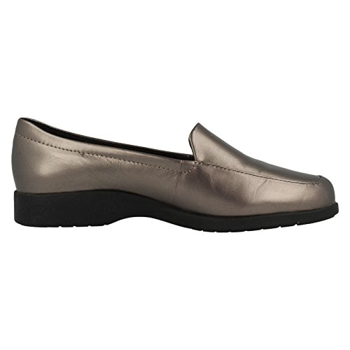 Clarks Georgia Womens Extra Wide Casual Shoes Pewter Leather YfG4lPu