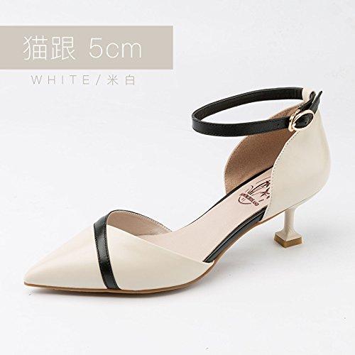 Jqdyl Tacones Sandalias Femeninas Verano Nuevos Zapatos Planos Zapatos de Hebilla Femenina Zapatos de Estudiantes de Hebilla, 34, Blanco 5Cm 34|White 5cm