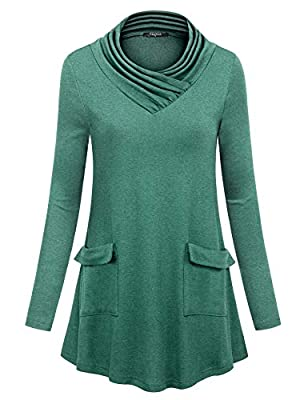 VALOLIA Women's Long Sleeve Cowl Neck Tunic Shirt Pullover Flared Swing Top Blouse with Pockets