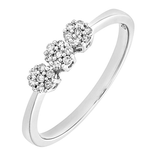 Bague Femme - Or blanc (9 cts) 1.2 Gr - Diamant 0.004 Cts