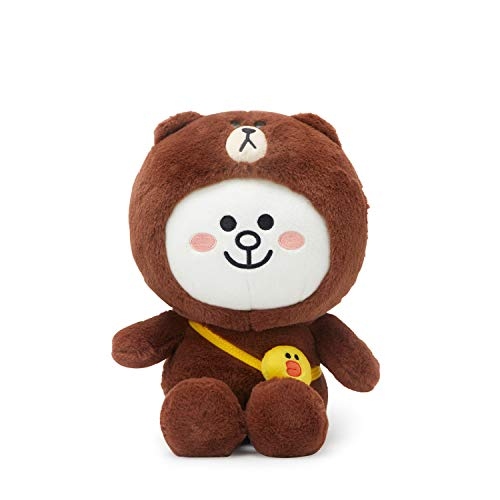 Brown And Cony Costumes - LINE FRIENDS Plush Standing Doll - CONY in Brown Character Costume Soft
