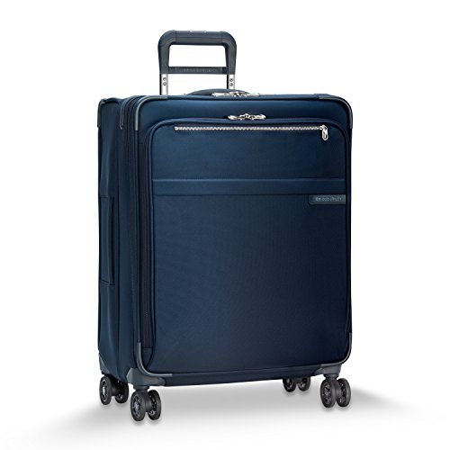 Briggs & Riley Baseline-Softside CX Expandable Medium Checked Spinner Luggage, Navy