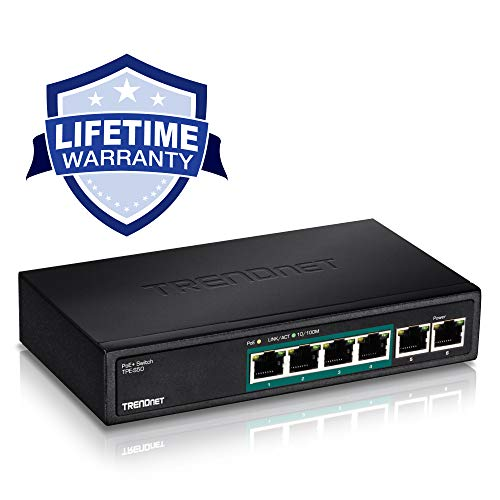 TRENDnet 6-Port Fast Ethernet PoE+ Switch, 4 x PoE+ Ports, 2 x Non-PoE Ports, 60W PoE Budget, 1.2 Gbps Switching Capacity, Lifetime Protection, TPE-S50
