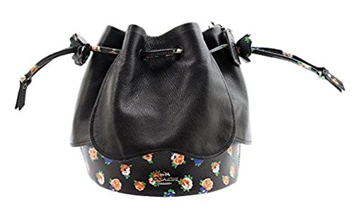 COACH Floral Mix Printed Leather Petal Bag Crossbody, F57544 (Black Multi) by Coach