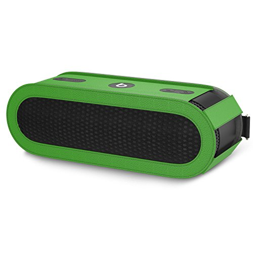 MoKo Carrying Case for Beats Pill+, Premium Vegan PU Leather Protective Cover Bag Sleeve Skins for Dr. Dre Beats Pill+ Portable Bluetooth Speaker, with Holding Strap & Carabiner, GREEN