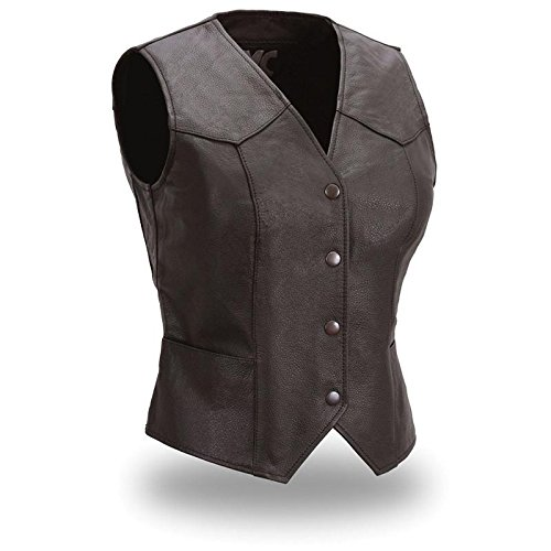 First Manufacturing Fitted Snap Women's Front Vest (Black, XX-Large)