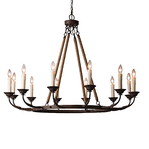 Lovedima Vintage Flaxen Hemp Rope andMetal 12-Light Rustic Round Candelabra Chandelier in Rust