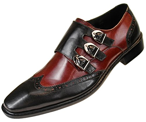 Asher Green Mens Genuine Two-Tone Leather Dress Shoes, Comfortable Triple Monk Strap Wingtip Oxfords Burgundy