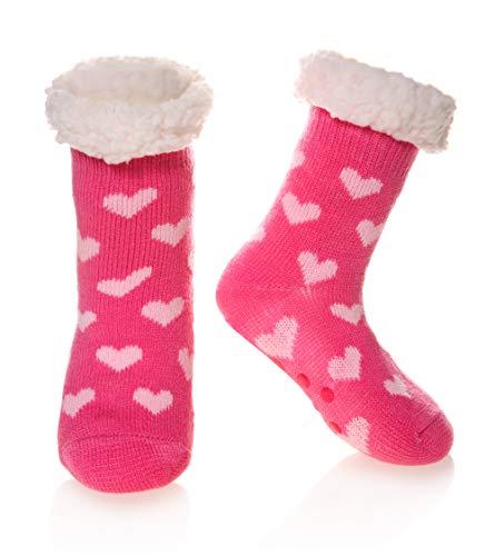 (Kids Boys Girls Fuzzy Slipper Socks Soft Warm Thick Fleece lined Christmas Stockings For Child Toddler Winter Home Socks (Rose Red Heart, 8-12 Years))