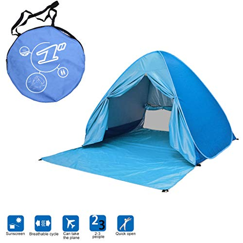 Large Beach Tent UV Pop up Sun Shelter Tents, Portable Automatic Sun Umbrella Waterproof/Windproof Instant Easy Cabana Fit 2-3 Persons for Camping, Hiking (Blue)