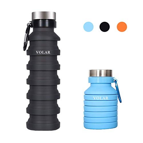 Volar Collapsible Foldable Silicone Water Bottle BPA – Free Portable Leak Proof, Flexible and Soft, Great for Children, Travel, Workout and Fitness FDA Approved 18oz (Black)