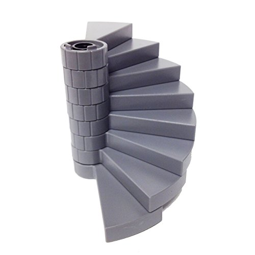 Lego Parts: Vampyre Castle Staircase Bundle - (1) Black - Support Axle 1 x 1 x 5 1/3 and (8) Dark Bluish Gray - Spiral Steps