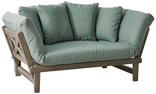 Cambridge-Casual 460109BLU West Lake Convertible Sofa Daybed, Weathered Grey with Teal (Loveseat Mist Patio)