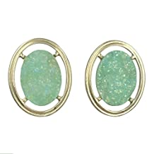 Imitation Druzy Stone Oval Gold Tone Boutique Style Stud Post Earrings Set - Assorted Colors