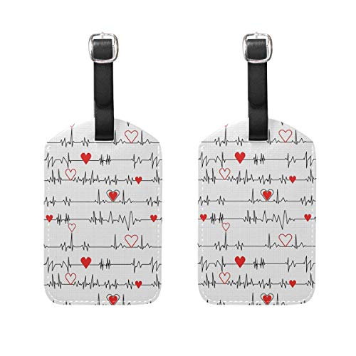 Calling Nurses EKG Stripe White Luggage Tags Suitcase Labels Travel ID Cover Travel Accessories Set of 2
