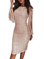 Lovezesent Womens Elegant Sequin Tassel Sleeve Bodycon Cocktail Party Midi Dress