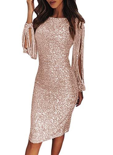 (Lovezesent Womens Elegant Sequin Tassel Sleeves Wedding Party Dress Sequin Bodycon Evening Party Dresses Knee Length Nude)