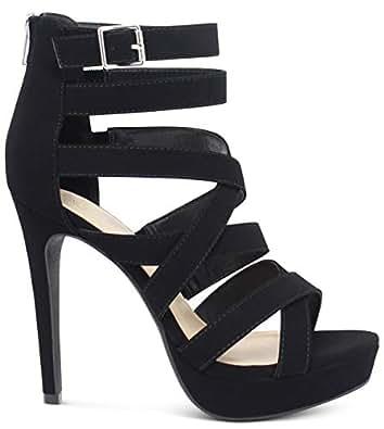 MARCOREPUBLIC Indianapolis Women's Open Toe High Platform High Heeled Shoes Stiletto Dress Sandals - (Black NBPU)- 7.5