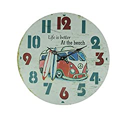 Chesapeak Bay Ltd. Weathered White Wood Vintage Surfer Bus Wall Clock