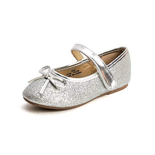 Picture of KIDS BRON Ballet Flats Mary Jane School Dress Shoes(Toddler/Little Girls) (7 M US Toddler, G03 Silver)