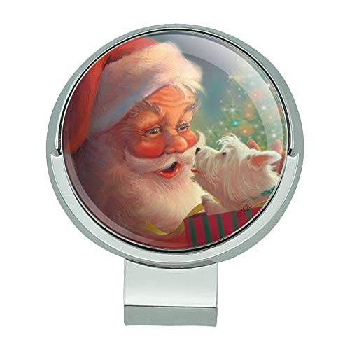 (GRAPHICS & MORE Christmas Holiday Santa Claus with Puppy Golf Hat Clip with Magnetic Ball Marker)