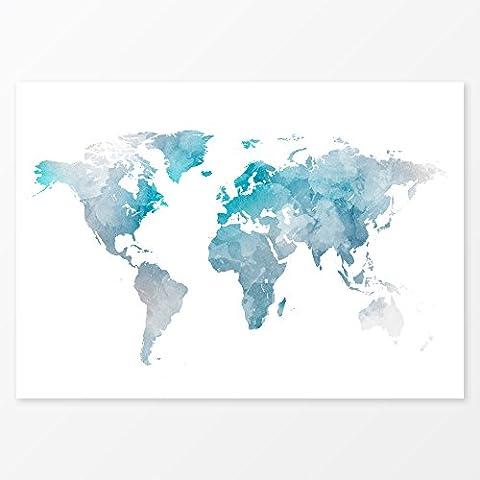 Blue Watercolor World Map Wall Art, Size 11x14, Travel Map Print, 220 gsm Photo Paper - Alternative Wall Art