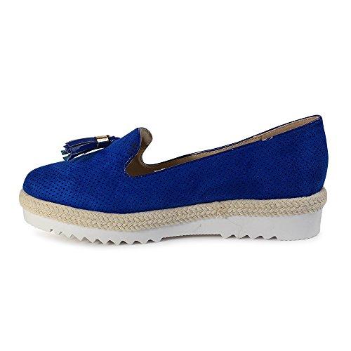 ... Schuhtraum Damen Slipper Plateau Sneakers Ballerinas Glitzer Nieten  ST551 Blau Quaste ... 6b00a52766