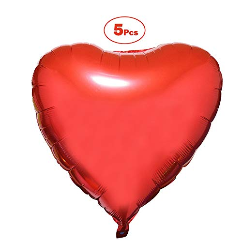 (5 Pcs 36 Inch Huge Red Heart Balloons, Romantic Large Heart Foil Balloons for Wedding Party Decorations(Red))