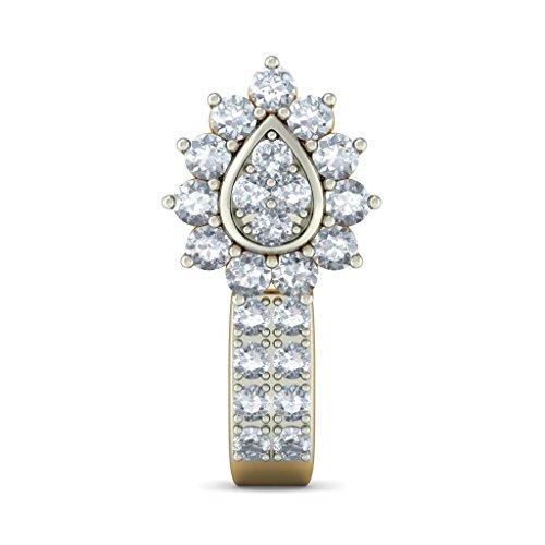 14K Or jaune 750/1000CT TW White-diamond (IJ | SI) Boucles d'oreilles créoles
