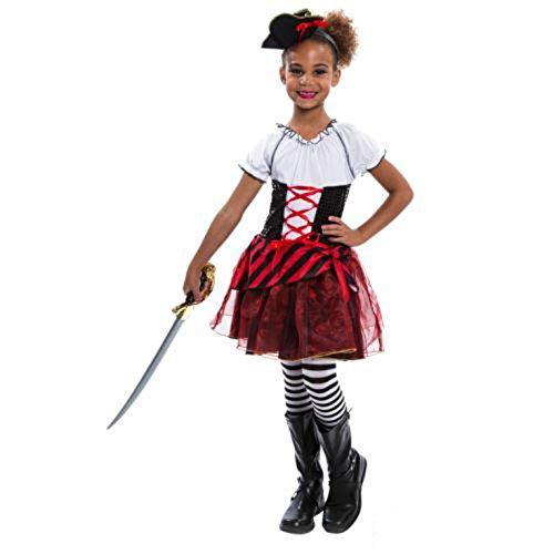 (Morph Girls Pirate Wench Costume, Red,)