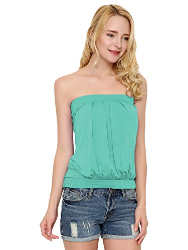 Maggie Tang Women's Modal Pleated Tube Top Turquoise XL