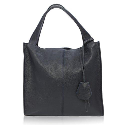 Women Shoulder Bag Made In Genuine Leather Florence 40 * 36 * 10 Cm Dark Blue