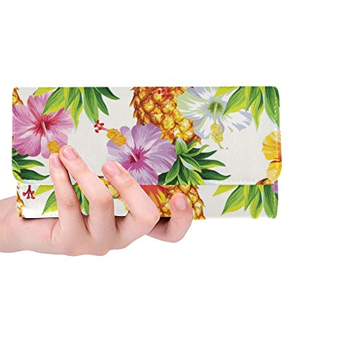 Unique Custom Hawaiian Pineapples Hibiscus Flowers Women Trifold Wallet Long Purse Credit Card Holder Case Handbag