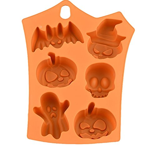 Slendima Orange Funny Bat Pumpkin Face Skull Ghost Silicone Fondant Cake Mold Chocolate/Sugar craft/Ice Cube Tray, Halloween Party Sweets Decor Mould - 9.06