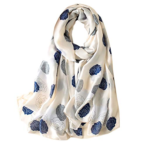 Fonshow Silk Scarf 100% Mulberry Silk Fashion Scarves Long Lightweight Shawl Wrap (6719)