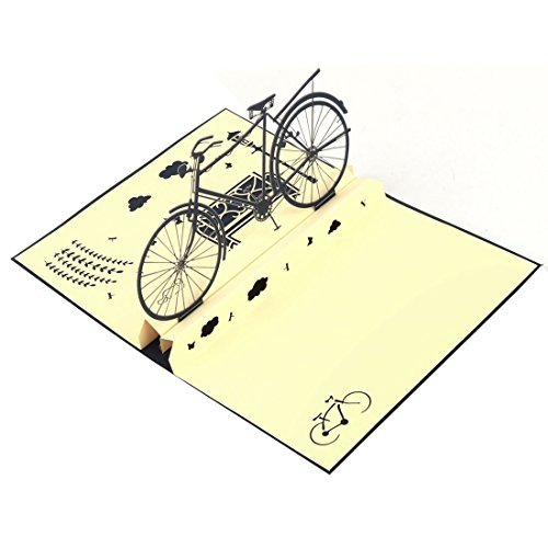 DealMux Paper Halloween Bicycle Design Vintage Style 3D Invitation Greeting Card Craft -