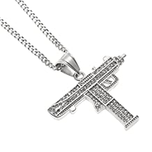 AOVR Hip Hop CUBAN LINK Chain 14k Gold Silver Plated CZ CRYSTAL Fully Iced-Out Submachine Gun Pendant
