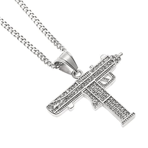 Angelcrab Hip Hop Style Machine Gun Dangle Pendant Necklace, 24 inch (Style Machine Gun)