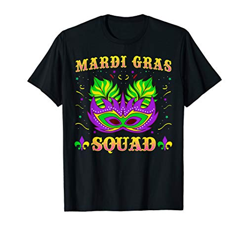 Mardi Gras Squad Tshirt Beads Mask Party Celebration Tee