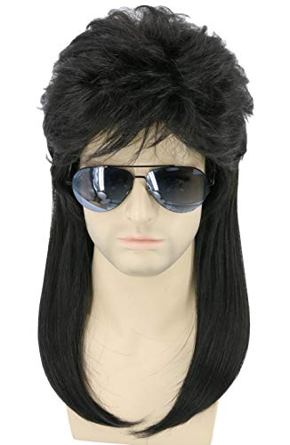 Topcosplay Mens Wigs 80s Mullet Wig Redneck Wig Punk Metal Rocker Disco Party Wig (Black Wavy) -