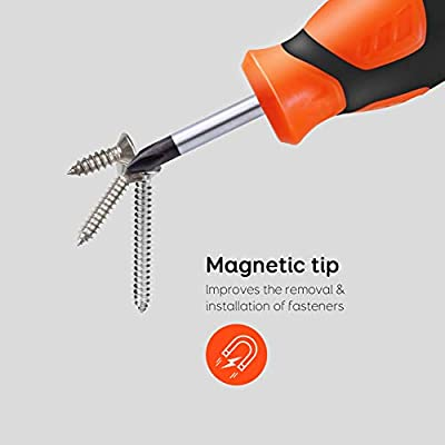 Magnetic Screwdriver Set, Newild 12 Pcs Cushion Grip 6 Phillips and 6 Flat Head with 1 Magnetic Ring, Repair Toolkit for Home Improvement Craft: Home Improvement