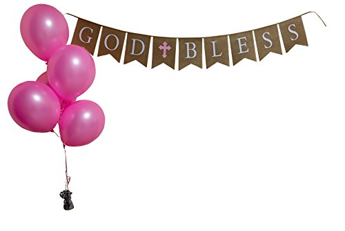 God Bless Burlap Girl Banner - Baptism - First Communion - Christening - Baby Shower - 5 Pink Latex Balloons (Cross Baby God Bless)