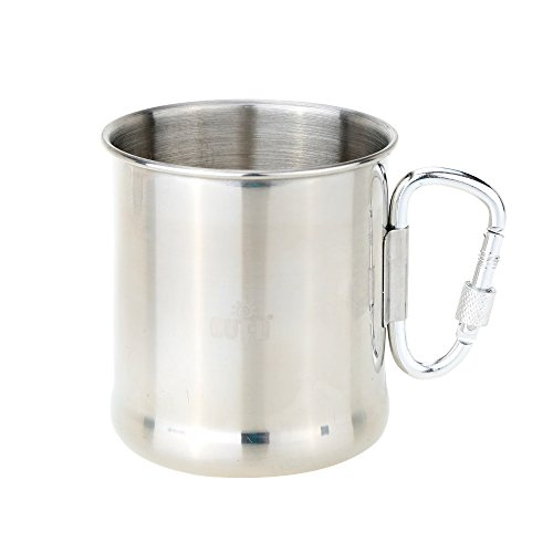 250Ml Stainless Steel Cup Mug With Foldable Self-Lock Carabiner Handle Portable Folding Handle Cup For Outdoor Camping^.