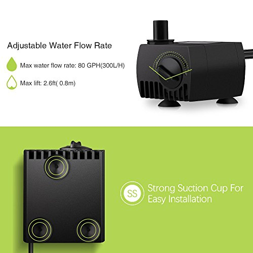 Homasy-80-GPH-300LH-4W-Submersible-Water-Pump-Ultra-Quiet-For-Pond-Aquarium-Fish-Tank-Fountain-Powerful-Water-Pump-with-59ft-18m-Power-Cord