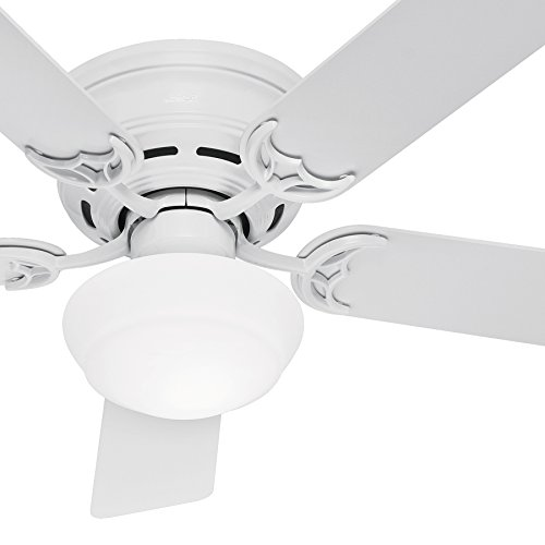 Glass Hunter - Hunter Fan 52in White Finish Low Profile Ceiling Fan Cased White Glass Light Kit (Renewed) (White)