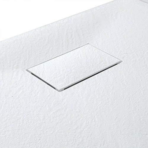 Piatto Doccia Spessore 2.6 Cm In Resina SMC Effetto Pietra Stone Ardesia Antiscivolo Riducibile Indistruttibile Filopavimento Arredo Bagno Con Griglia Di Copertura Colore Bianco 70 x 100 cm