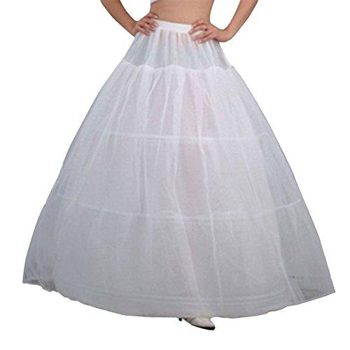 (WANNISHA 3 Hoops Petticoat Crinoline Slips Underskirt Floor Length for Bride)