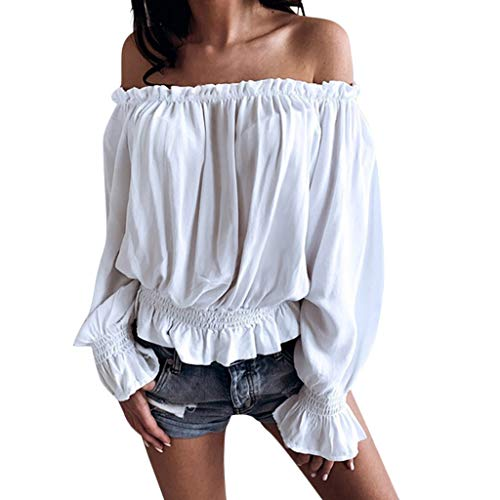 Goddessvan 2019 Women's Solid Casual Long Sleeve Chiffon Ruffled Shirts Off Shoulder Loose Fit Top Blouse White -