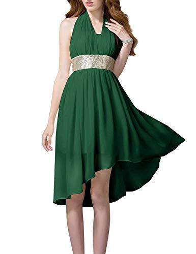 Partie De Retour À La Maison De Bal Sequin Mousseline Licol Haut Bas Bess Femmes Mariée Robe Vert Chasseur