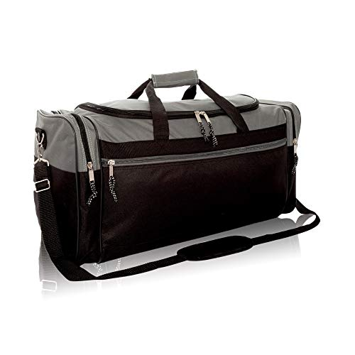 """DALIX 25"""" Extra Large Vacation Travel Duffle Bag in Gray and Black"""